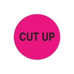 23mm Removable Pink Circle Label - Printed CUT UP in Black - Roll 1000